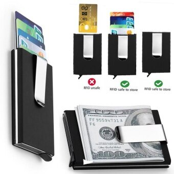 Rfid blocking automatic credit card holder business card holder blocking automatic credit card holder business card holder magic pop up aluminum wallet money clip credit card protector case kes pemegang kad kredit dompet colourmoves
