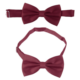 BolehDeals  3pcs Men's Satin Bow Tie Cummerbund Hanky Handkerchief Wine Red