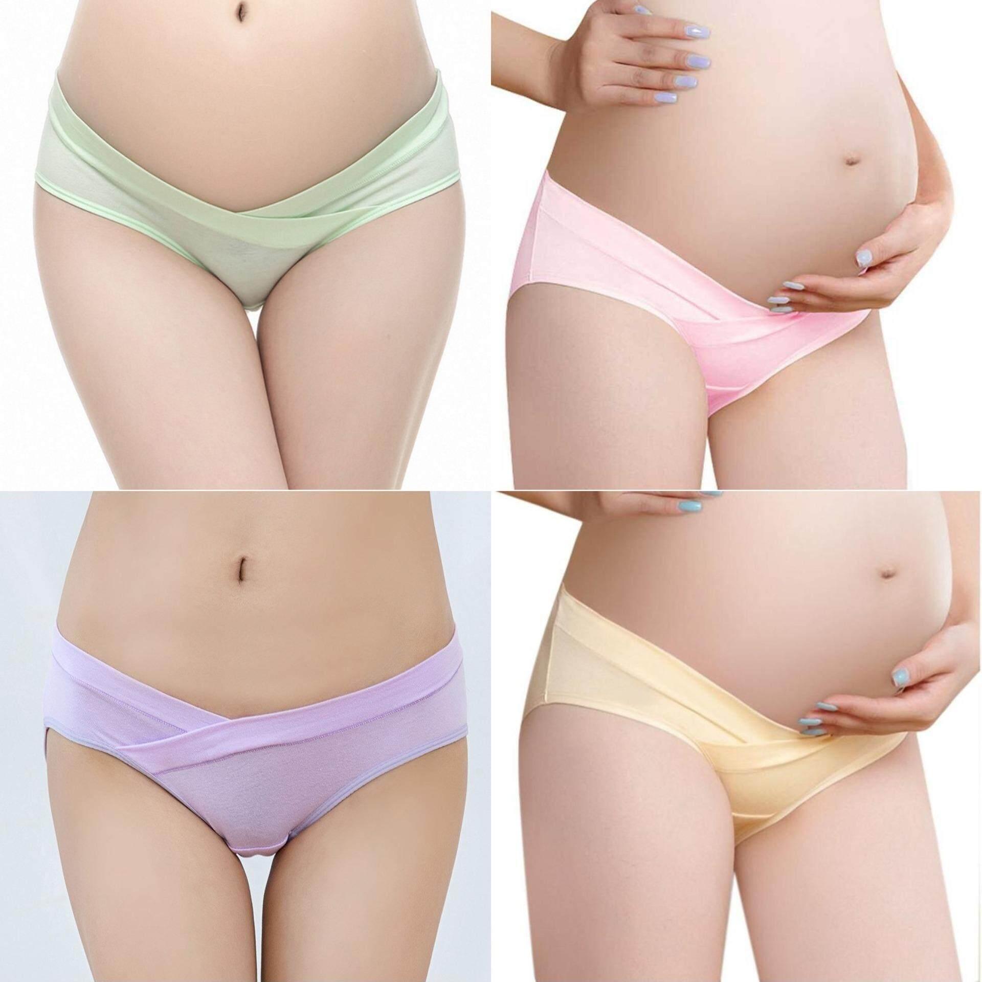 Bolster Store 3 Pieces Ladies Women Pregnant Maternity V Low Waist Cotton Panties Underwear