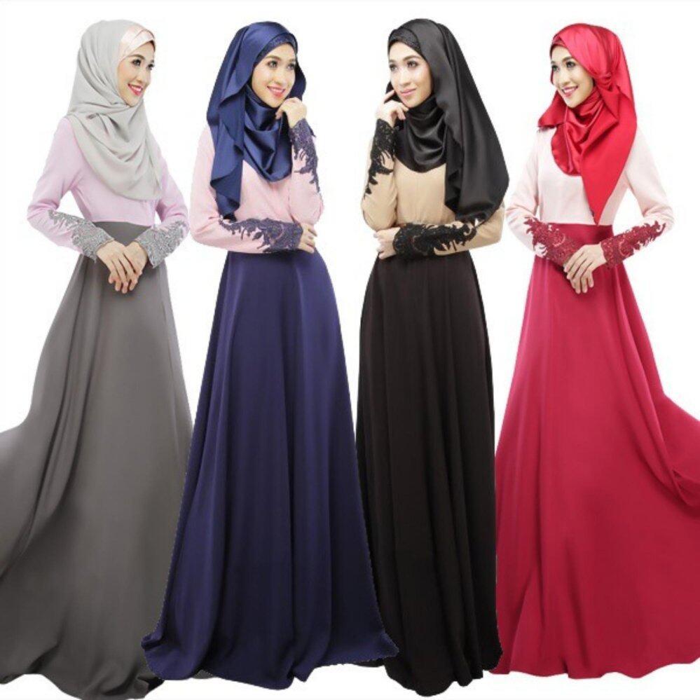 Bolster Store Baju Raya Muslim Long Sleeve Linen Flower Print Maxi Dress Jubah (Grey)