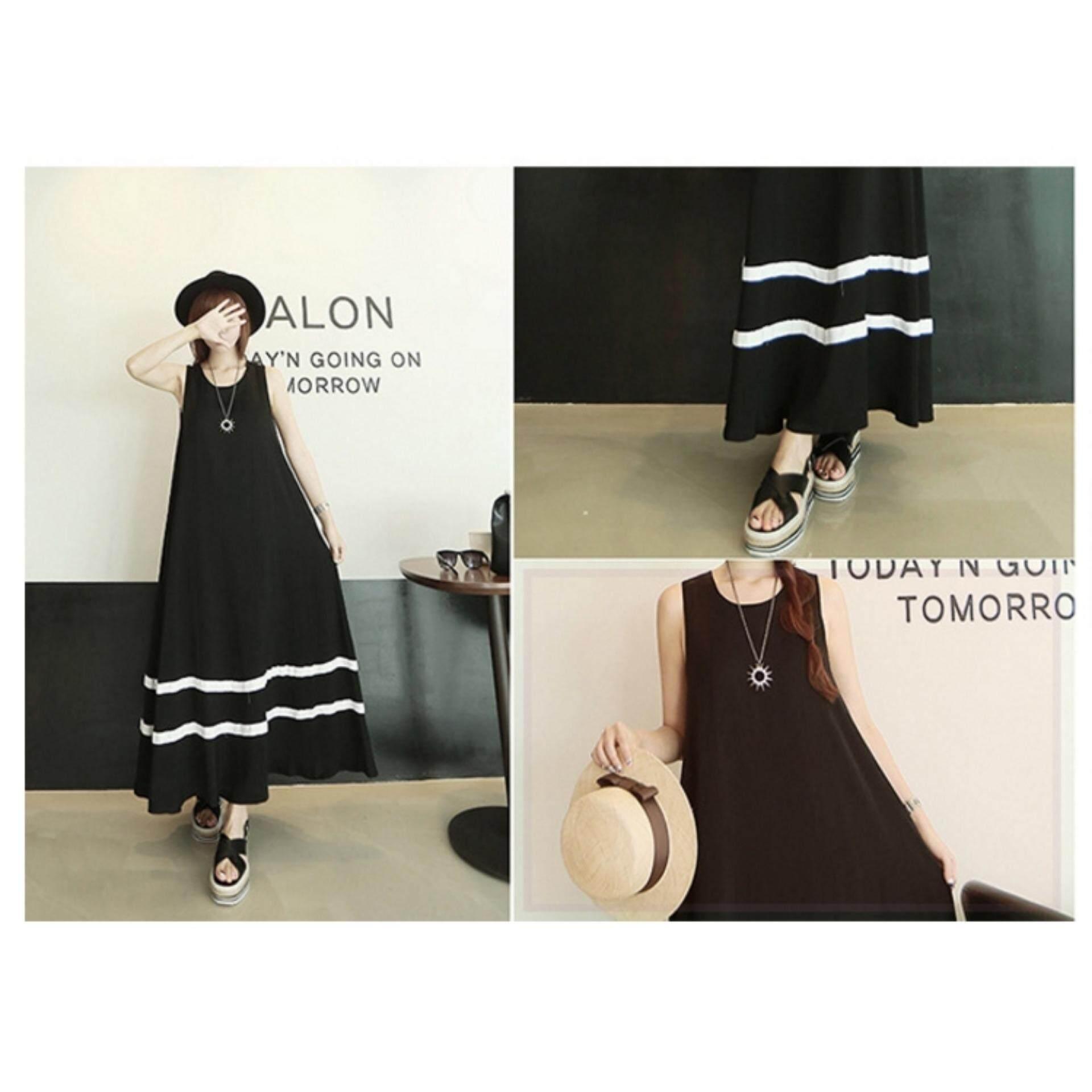 Bolster Store Ladies Women Basic Maxi Plain Black White Colour Long Sleeveless Dress