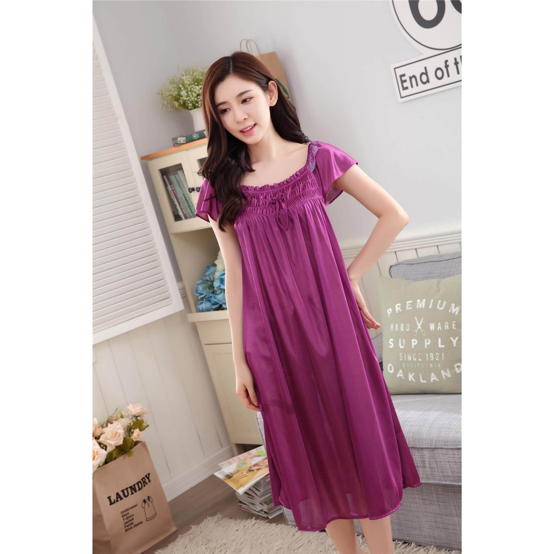 Bolster Store Ladies Women Sexy Lingerie Sleepwear Pajamas Pyjamas Long Dress Silk Sleeve Comfortable Wear (Dark Purple)