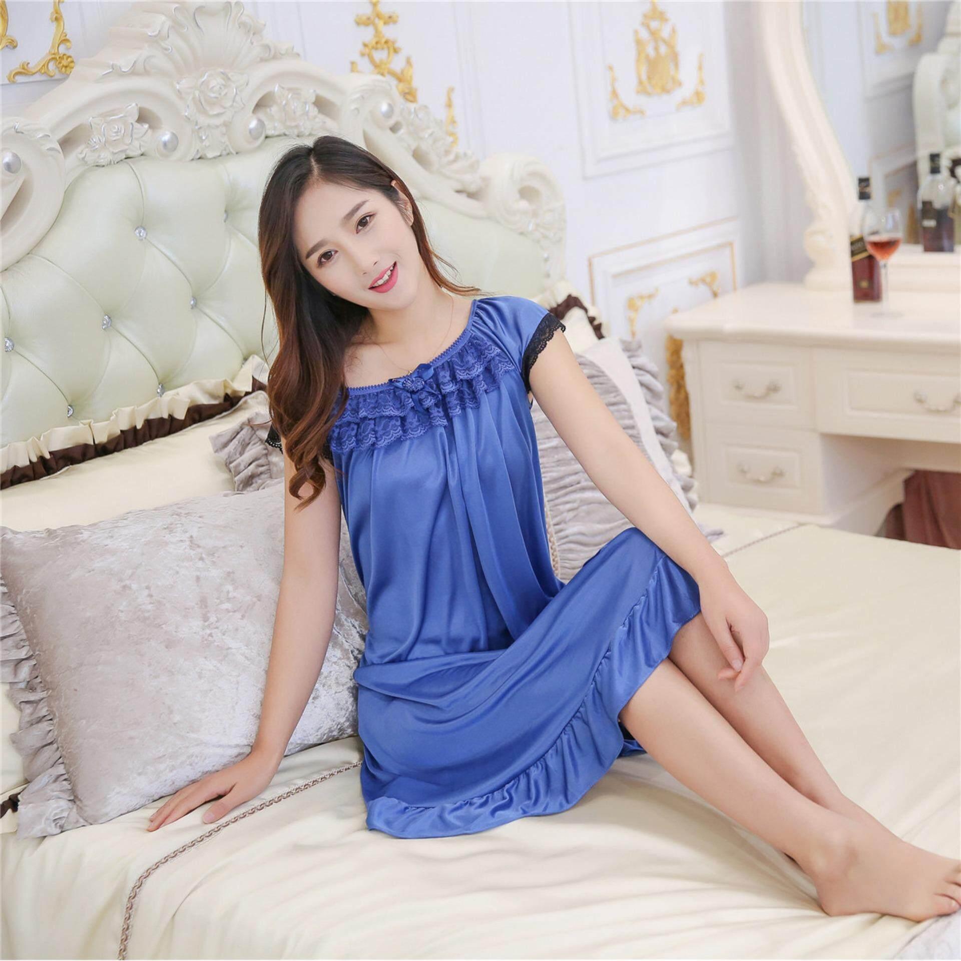 Bolster Store Ladies Women Sexy lingerie Sleepwear Short Sleeve Bow Ribbon Lace Pajamas Long Dress Silk Comfortable Night Wear Pyjamas (Blue)