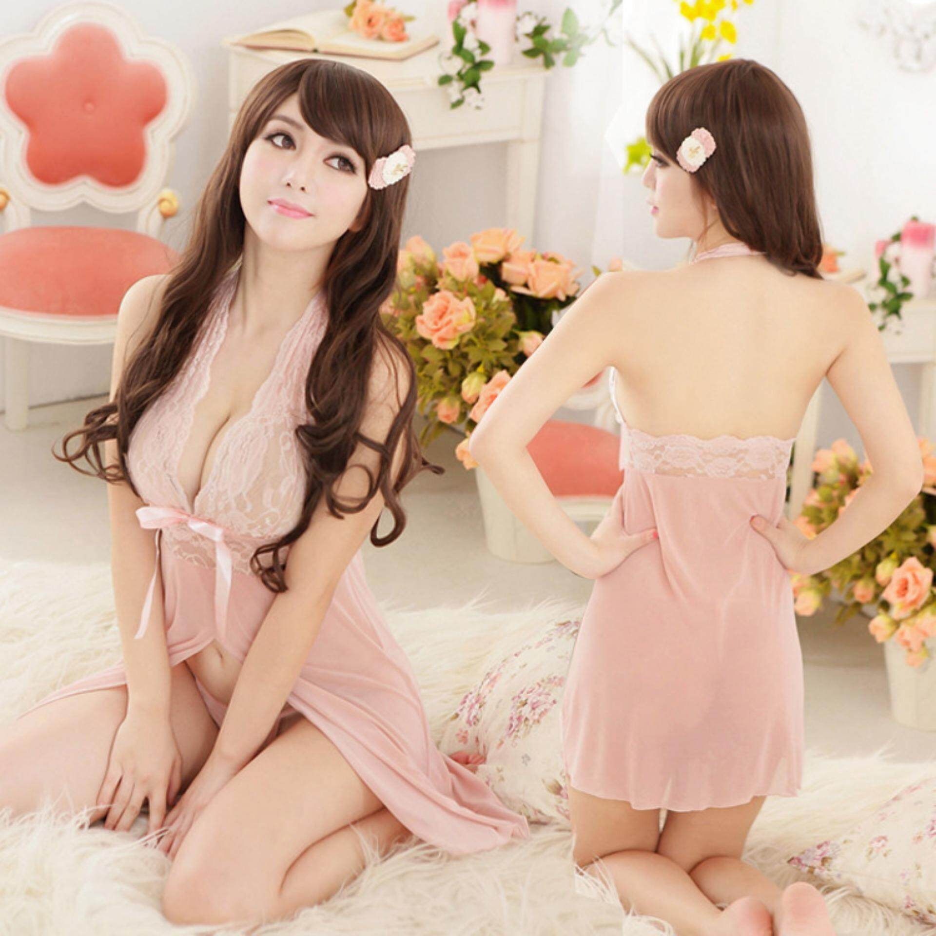 Bolster Store Ladies Women Sexy lingerie Sleepwear Sleeveless Pajamas Lace Sexy Comfortable Wear (Pink)