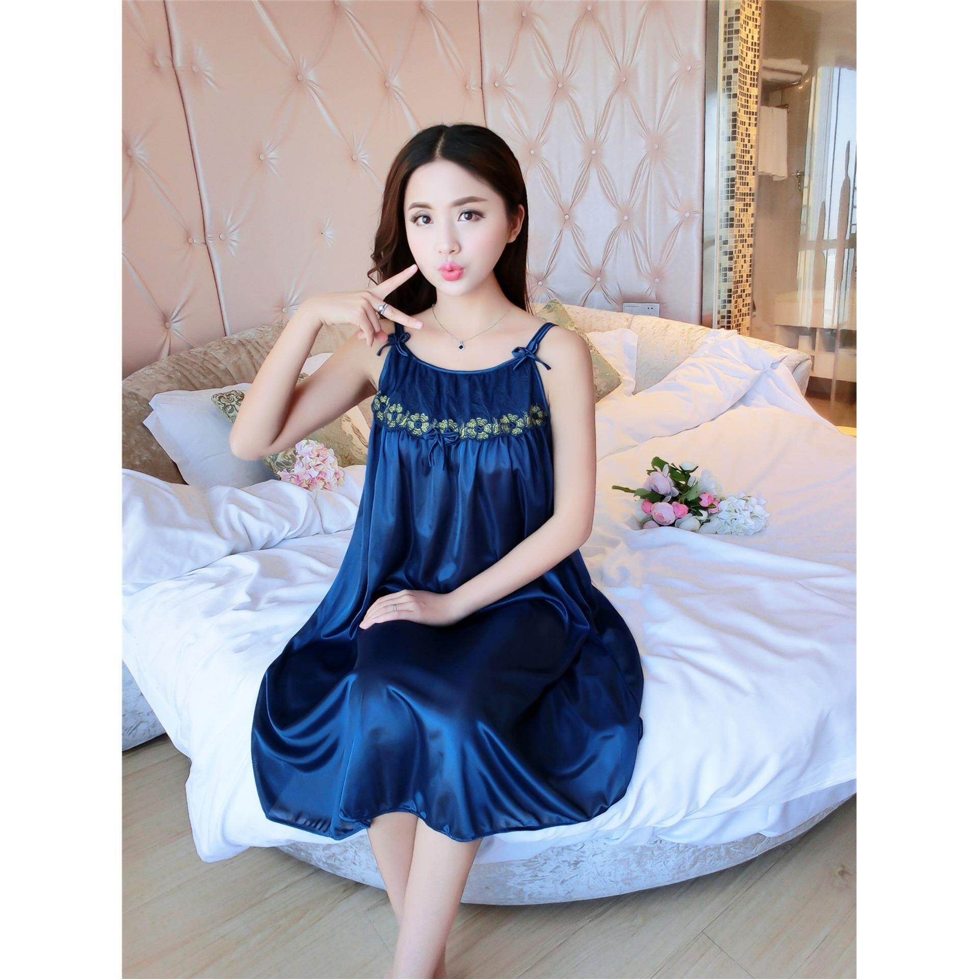 Bolster Store Ladies Women Sexy lingerie Sleepwear Sleeveless Pajamas Long Dress Silk Comfortable Wear (Blue)