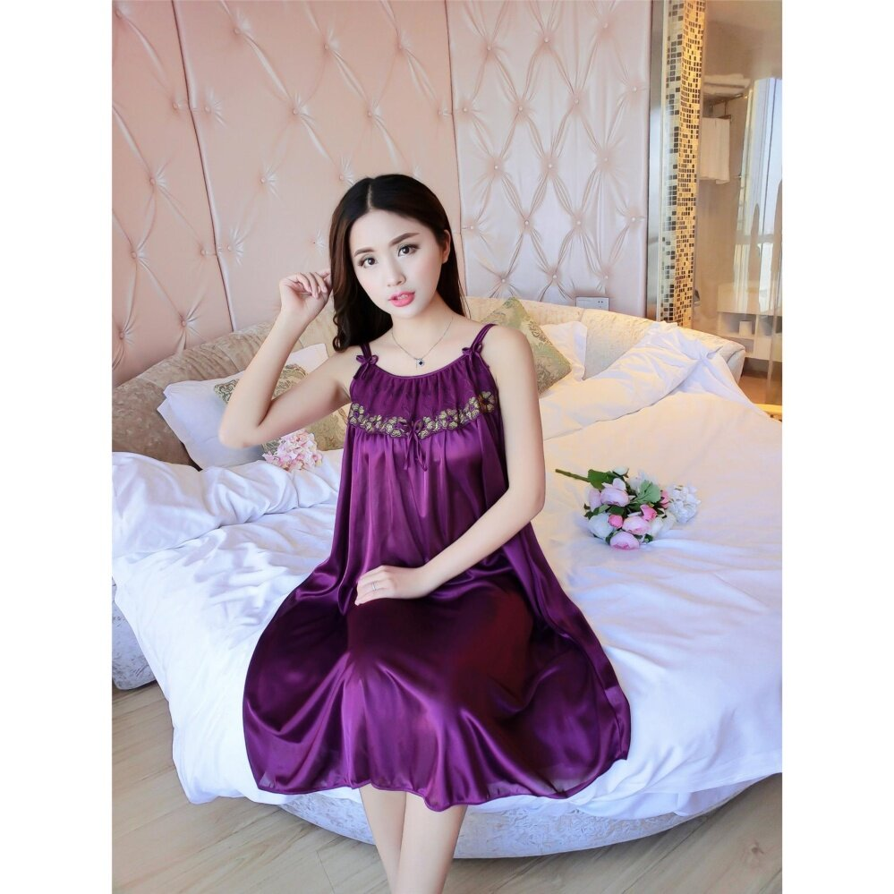 Bolster Store Ladies Women Sexy lingerie Sleepwear Sleeveless Pajamas Long Dress Silk Comfortable Wear (Dark Purple)