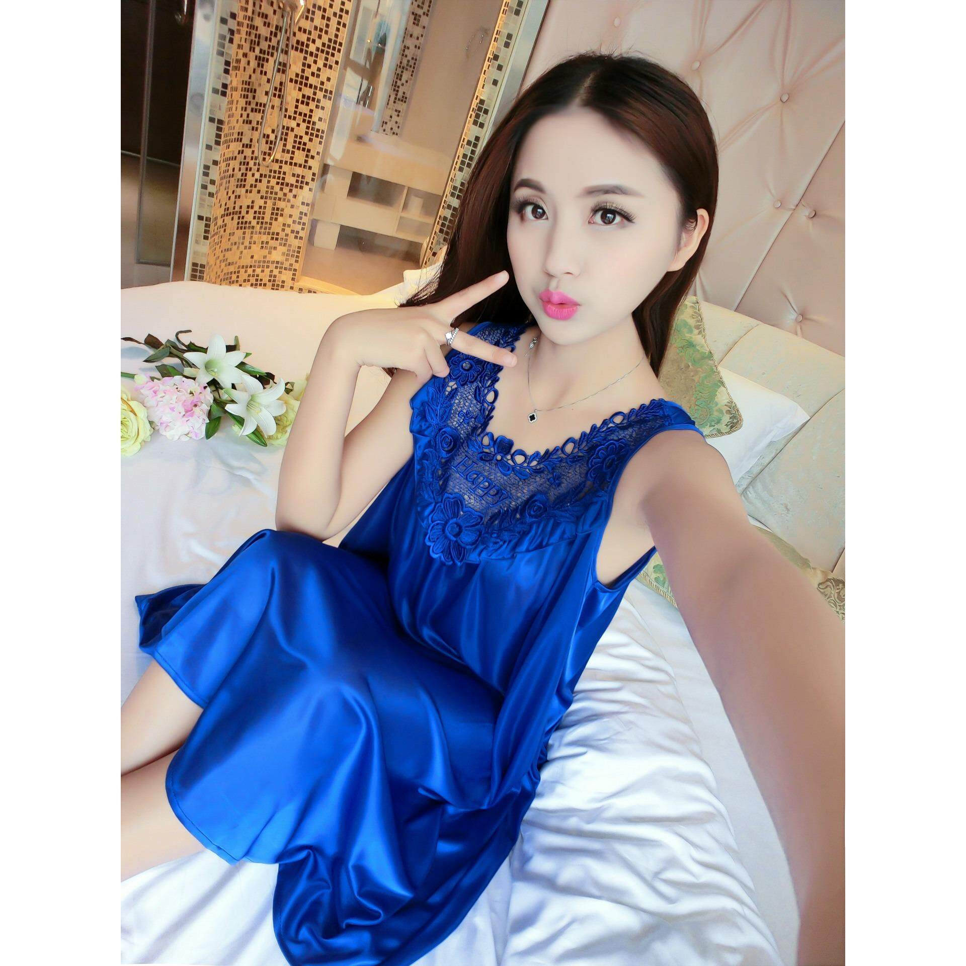 Bolster Store Ladies Women Sexy lingerie Sleepwear Sleeveless Pajamas Long Dress Silk Comfortable Wear (Emerald Blue)