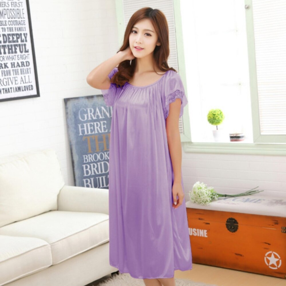 Bolster Store Ladies Women Sleepwear Sexy Lingerie Basic Plain Design Pajamas Long Skirt Silk Comfortable Wear (Light Purple)