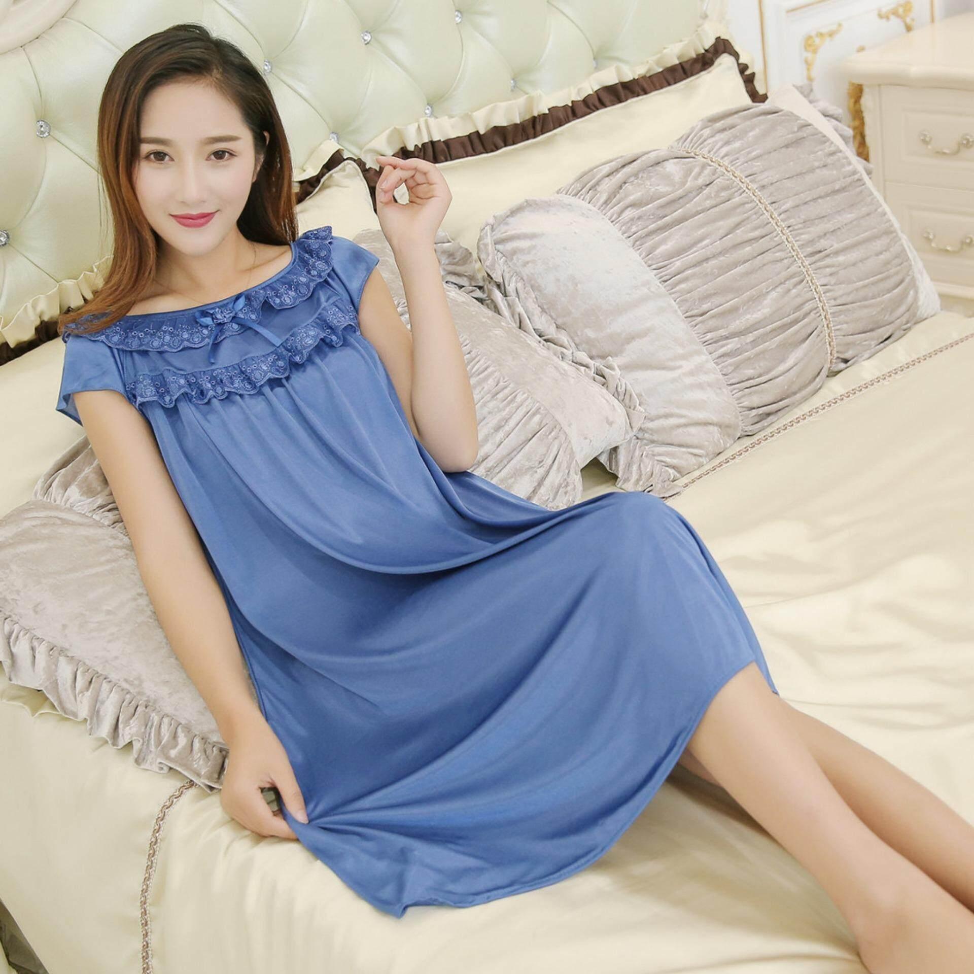 Bolster Store Ladies Women Sleepwear Sexy Lingerie Pajamas Long Dress Bow Sleeve Silk Comfortable Wear Pyjamas