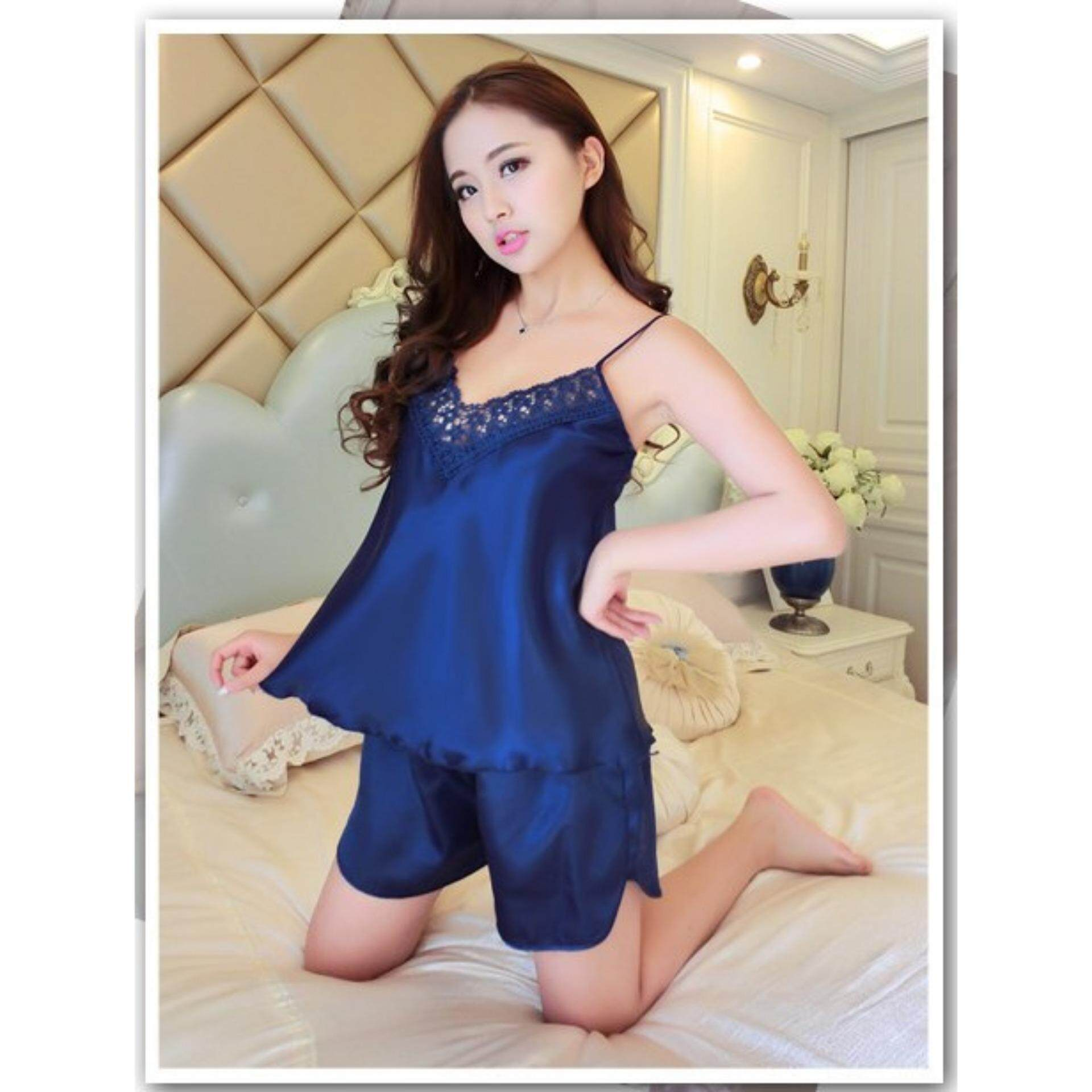 Bolster Store Sexy Lingerie Silk Set Lace Sleepwear Pajamas Comfortable Top Bottom Set Satin ( Set of 2 Top + Bottom )