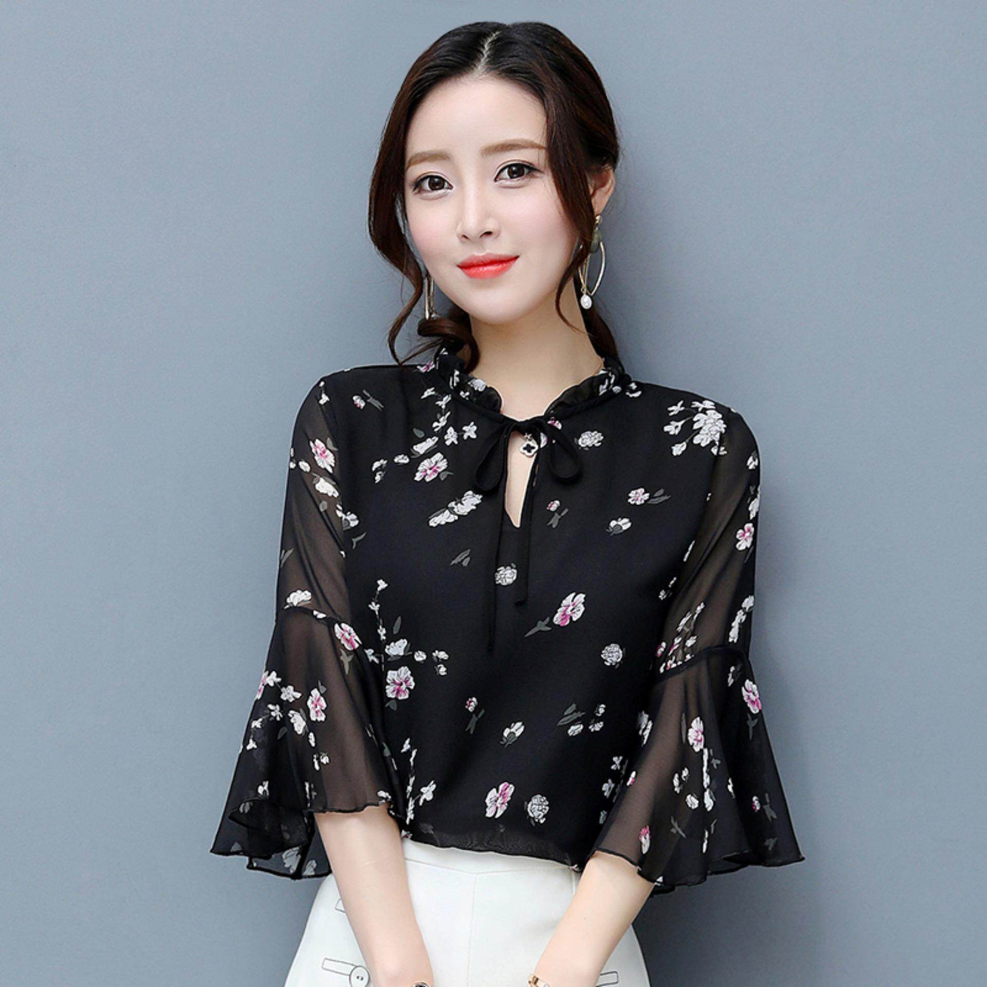 Bolster Store Women Ladies Flora Butterfly Sleeve Long Blouse Casual Office Look Blouse ( Black )