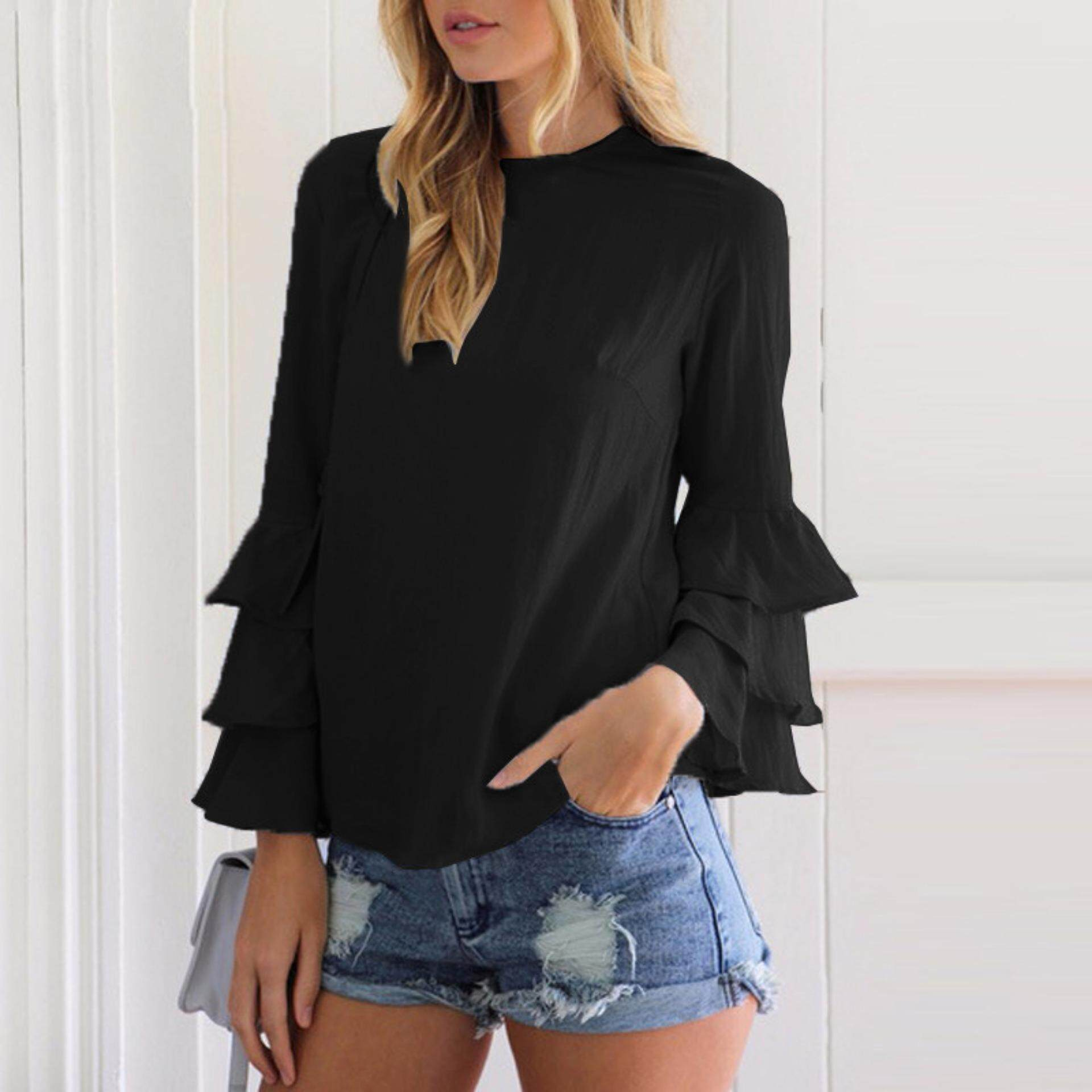 Bolster Store Women's Elegant Flared Bell Ruffled Flounce Long Sleeve Blouses Casual Shirts Round Neck Tee ( Black )