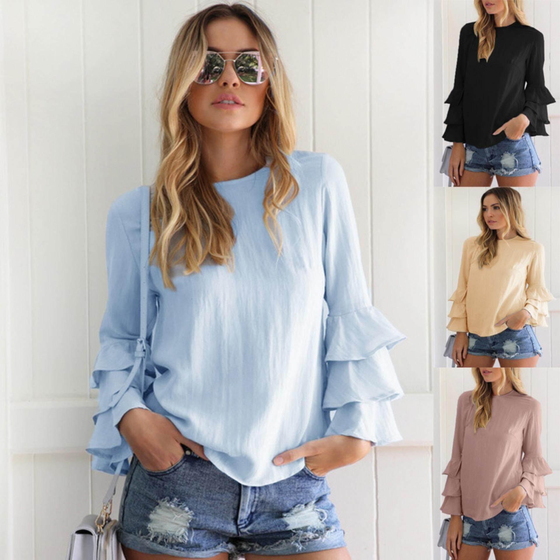 Bolster Store Women's Elegant Flared Bell Ruffled Flounce Long Sleeve Blouses Casual Shirts Round Neck Tee ( Light Blue )