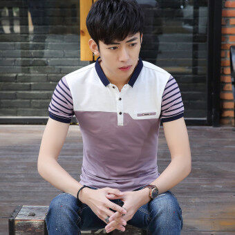 Harga British cotton Fold-down collar Slim fit polo shirt T-shirt (9009 light purple [collar]) (9009 light purple [collar])