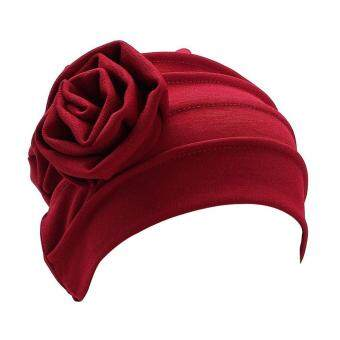 Broadfashion Pleated Floral Muslim Hijab Cap Stretch Chemo Turban Hat?Women's Head Scarf (Beige