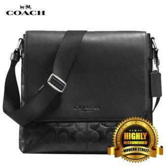 Coach F71766  NWT  Sullivan Black Embossed Signature Leather Messenger  Crossbody - BLK(Black c31463a12d