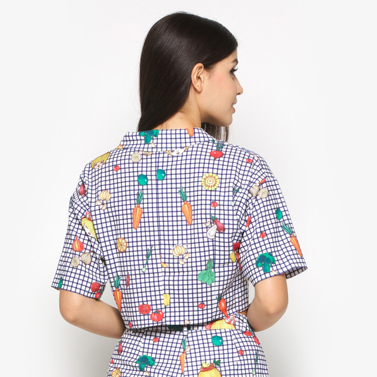 DA+PP Checked Blouse - Casual Top Blue Vegetables
