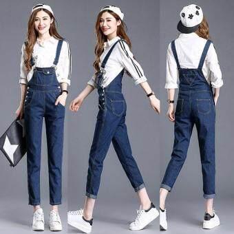 46f485084e0 Denim Jumpsuits Women Vaqueros Romper Long Pants Braces Jeans Overalls  Suspender Female Catsuit -Dark blue
