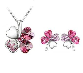 Harga DeParis Charming Four Leaf Clover Necklace and Earring Set - Pink