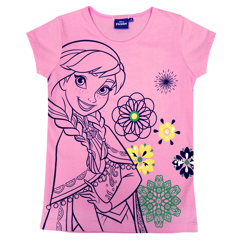 Disney Princess Frozen Kids T-Shirt 100% Cotton 3yrs to 12yrs - Pink Anna