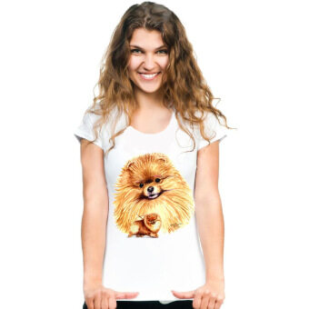 DIY tshirt Summer fashion women's short sleeve super like pomeranian dog T-Shirt cute pet