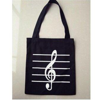 Eachgo Women Canvas Musical Note Print Tote Portable Shopping Handbag Hobo Bag Single Shoulder Bag (