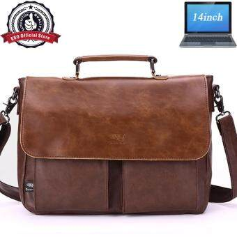 Eso High Quality Messenger Beg 14inch Laptop Single Classic Britian Shoulder Leather Business Cross Body Bag