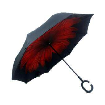 EVERY1 [SP49] C-Handle Inverted Umbrella Double Layer Folding Umbrella Anti-UV Rain And Sun Protection Reverse Umbrella - Red Flower