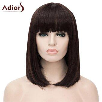 Harga Fashion Hair Accessories Adiors Short Glossy Straight Neat BangSynthetic Wig(Deep Brown)