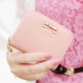 Harga Fashion Lady Leather Zip Around Wallet Pink