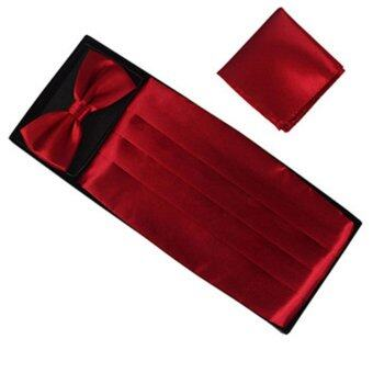 Fashion Men Cummerbund Adjustable Bow Tie Hanky Set Wedding Prom Tuxedo Formal wine red