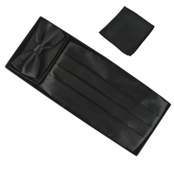 Fashion Men Cummerbund Adjustable Bow Tie Hanky Set Wedding Promtuxedo Formal Black