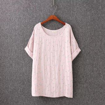 Fat mm 2510 loose Slimming effect Print Korean-style cotton T-shirt(Pink)