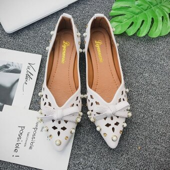 Flat female sandals 2017 summer New style Butterfly knot diamondpearl shallow mouth soft bottom shoes pointed hollow sandals (MiBai)