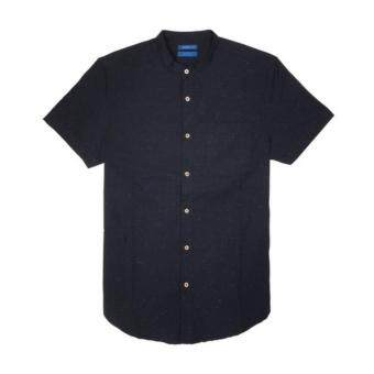 F.O.S NAVY & NAVY MEN'S BASIC NAVY BLUE CHEONGSAM SHIRT