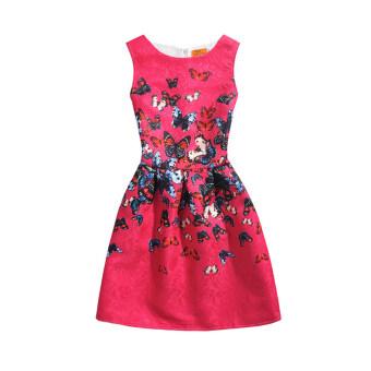 Girl Autumn Winter Fashion Flower Dress (Red)