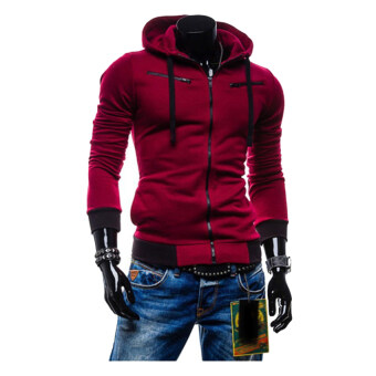 Gracefulvara Boys Men Fashion Slim Fit Sweater Casual Zipper Hoodie Fleece Jacket Coat (Wine Red