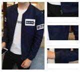 Grandwish Men Korean design Letter Printing Jackets Bomber Jackets Thin Coat Slim M-4XL (Dark blue) - 5