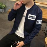 Grandwish Men Korean design Letter Printing Jackets Bomber Jackets Thin Coat Slim M-4XL (Dark blue) - 3