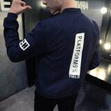Grandwish Men Korean design Letter Printing Jackets Bomber Jackets Thin Coat Slim M-4XL (Dark blue) - 4