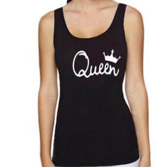 Hequ Couple Matching Cute King Queen Letter Crown Tank Top Queen Black