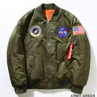 Harga Hequ Freelee Nasa Flying Jacket Nylon Letter Man Varsity AmericanCollege Bomber Flight Jacket Army Green
