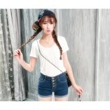 High Waist with Button Short Pants - Jeans