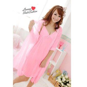 Harga Loveena Ice Silk Robe Pyjamas Plus Size Lingerie P0309 (Pink)