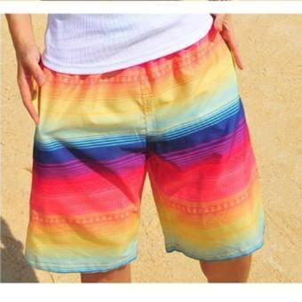 Harga Men Summer beach shorts quick drying couple beach pants rainbow shorts swim beach pants holiday swimsuit