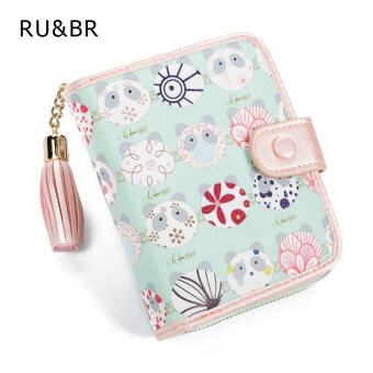 Harga 2016 New Fashion Korean Kawai Women Wallet Candy colors Hit color Painted Tassel Ladies Wallet Clutch Coin Purse Card Holder