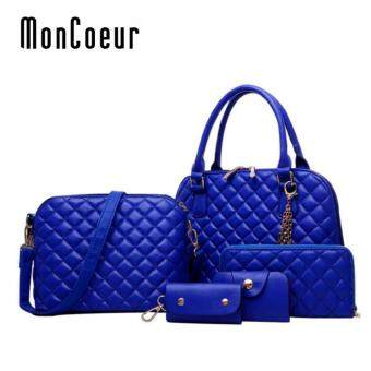 Harga MonCoeur D111 Set 5 in 1 Europe Design PU leather Handbag Set (Blue)
