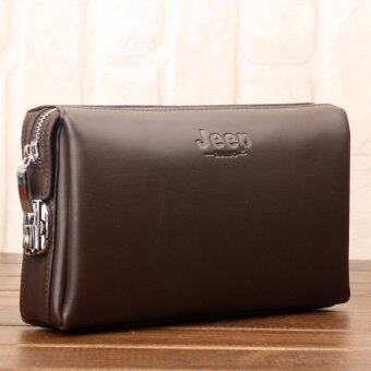 Harga Jeep Buluo Men Bag Handbag Zipper Locks Male Cowhide Leather Clutch Hand Bag Clip Large Capacity Wallet (Brown / Small)