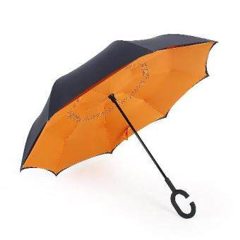 Harga Raison Double Reverse Umbrella Hands-free C-shapped Rain/Sunny/Windy Umbrella Long Handle Orange