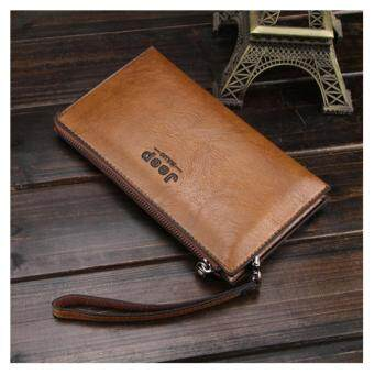 Harga Jeep New men's leather wallet long wallet mobile phone multi-card leather wallet casual clutch bag (Khaki)
